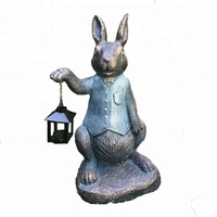 Wholesale Metal And Resin Outdoor Garden Statue Rabbit Sculpture with light