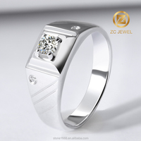 Handcrafted silver jewelry AAA CZ wedding ring design for man