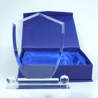 customize shield shape crystal plaque award gift with Luxury base
