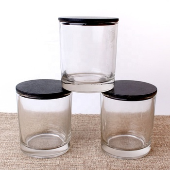 Cylinder candle holder glass 11oz glass candle jar with wooden lid