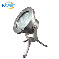 Outdoor landscape 304 Stainless steel 9*3W IP68 underwater led rgb lights marine