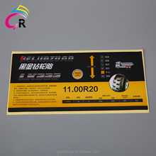 china factory customize strong self adhesive aluminium layer rubber tyre tire layertyre sticker product labels