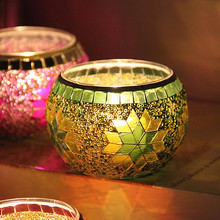 European Tea Light Glass Mosaic Candle Holders for waddings and home decoraction