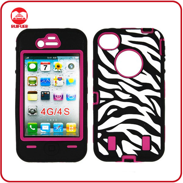 Pandamimi Rose Pink White Zebra Combo Hard Soft Impact case for iPhone 4 4S Armor Case Skin Gel