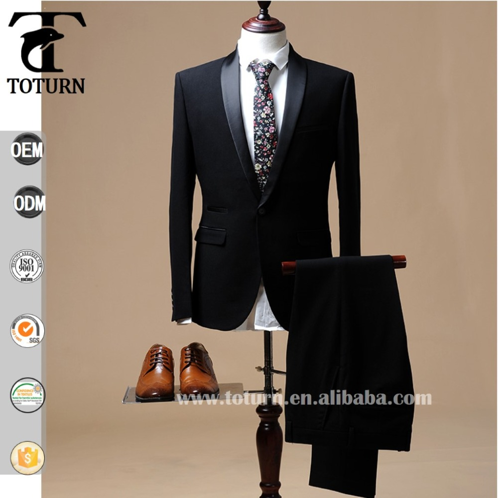 2016 OEM service slim fit black shawl collar mens suits&tuxedo for wedding best men suit