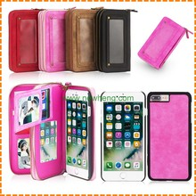 High quality Women Leather Mini Wallet Id Credit Card Holder Case For iPhone 7 7 plus