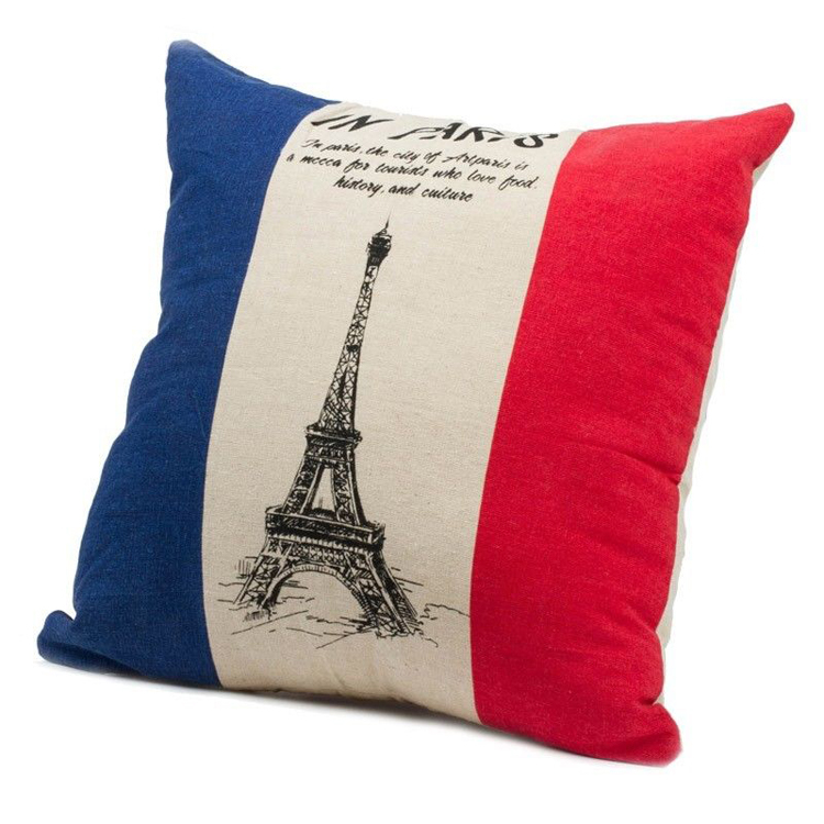 lepanxi brand factory supplier paris eiffer tower printing square custom wholesale travel pillow