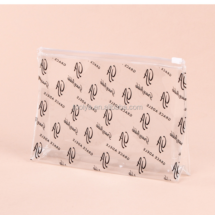 Custom clear cosmetic recyclable transparent heat seal make up plastic pvc bag