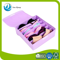 foldable purple storage bin sock underwear zipper storage box container for home