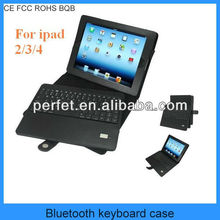 Detachable Bluetooth Wireless Keyboard with Leather Case Stand Cover for Apple iPad 2/3/4(PT-BKIP202)