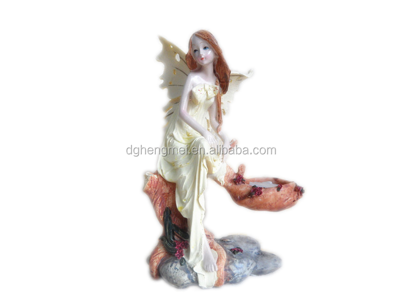 Resin angel statues candle holder