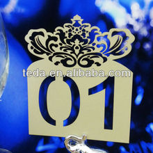 2014 laser cut table number card for wedding decoration