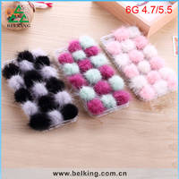 2016 New Arrivals Colorful Fur Ball Case for iPhone 6/Mink Gross Fluffy Ball Fur Ball Mobile Phone Cover Case by Handmade