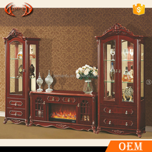 European classical style wooden display wine cabinet tv stand set wall units with decorative electric fireplace with heater