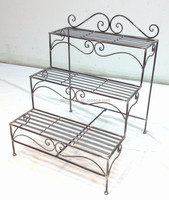 antique handmade 3-tier metal ladder plant stand