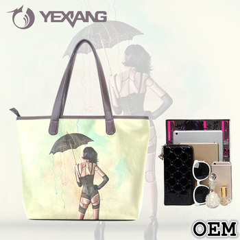 Fabric Storage Shopping Shoulder Handbag PU Leather Personalized Tote Bag
