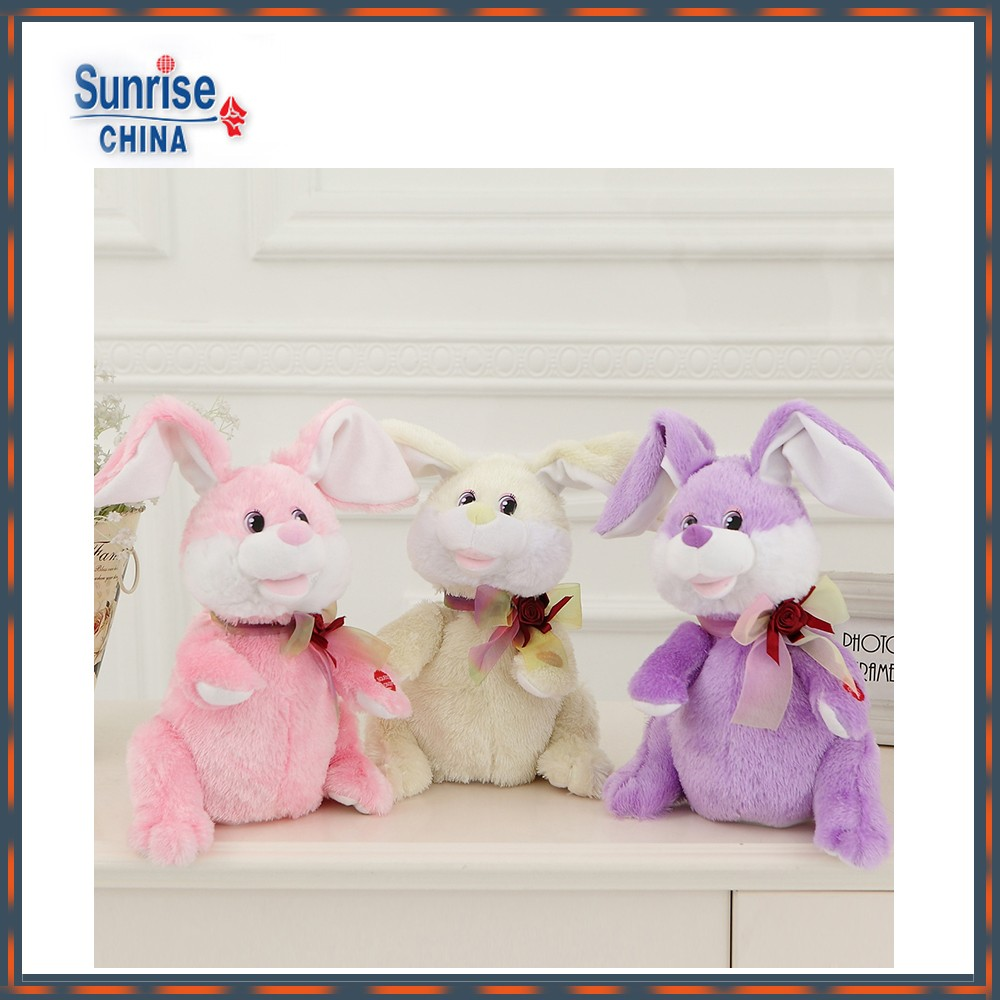 ICTI China factory customized soft stuffed plush rabbit doll/bolster toy with motor-driven clapping ears(assorted)