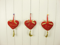 Wedding scene&valentine decoration red hearts hanging ornament