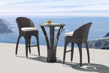 Herringbone weave restaurant wine club outdoor rattan high top table with 2 stools or bar furniture