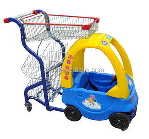 With A Plastic Toy Car for Kids Sit Supermarket Shopping Cart