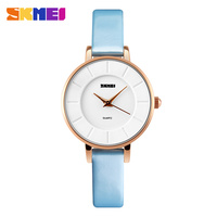 lady quartz fashion slim leather bracelet watch