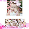 Wholesale pink bowknot elastic headband for lovely baby