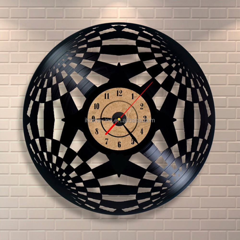 3d fancy decorative vinyl record shadow wall clock for sale