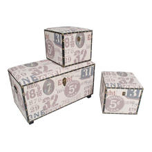 Whosesale 3 piece decorative linen leather trunk set with best price