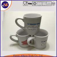 Car logo printed cheap white stoneware ceramic coffee/tea mug with handle made in China factory