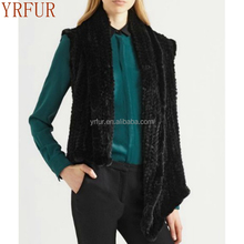 YR510 New Cropped Design Genuine Rabbit Hand knitted Fur Vest with Top Quality
