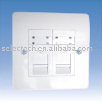 2 port network faceplate,keystone wall plate SE-2*NE-88A+8081071