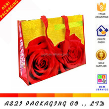 reusable and durable shopping glossy laminated tote bag wholesale with romantic roses printed
