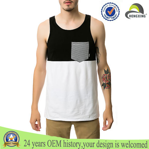 Two tone 100% cotton fabric for wholesale plain sexy men tank top