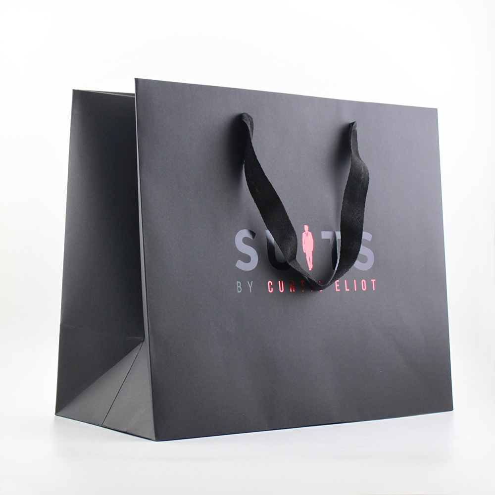 BSCI, FSC customized black paper shopping bags with hot stamp logo