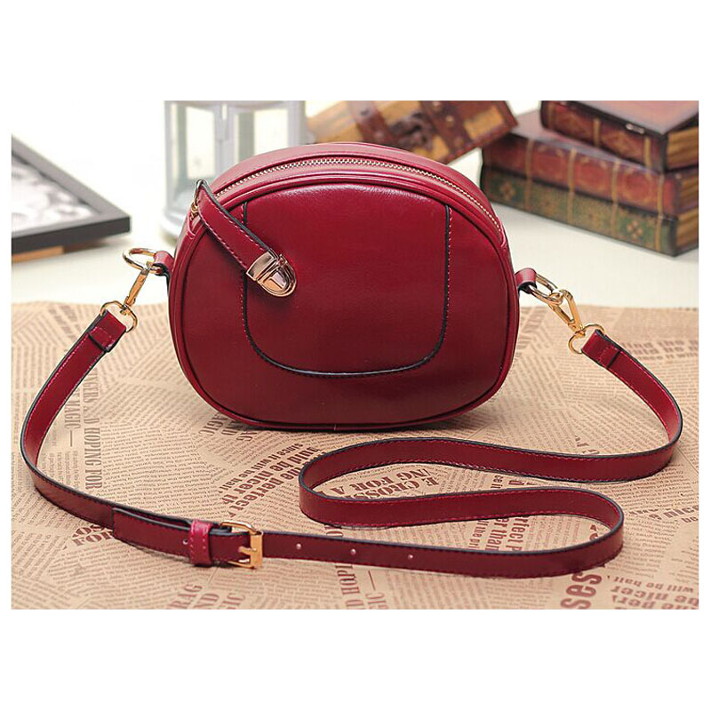 new design woman ladies pu leather vintage small round messenger bag