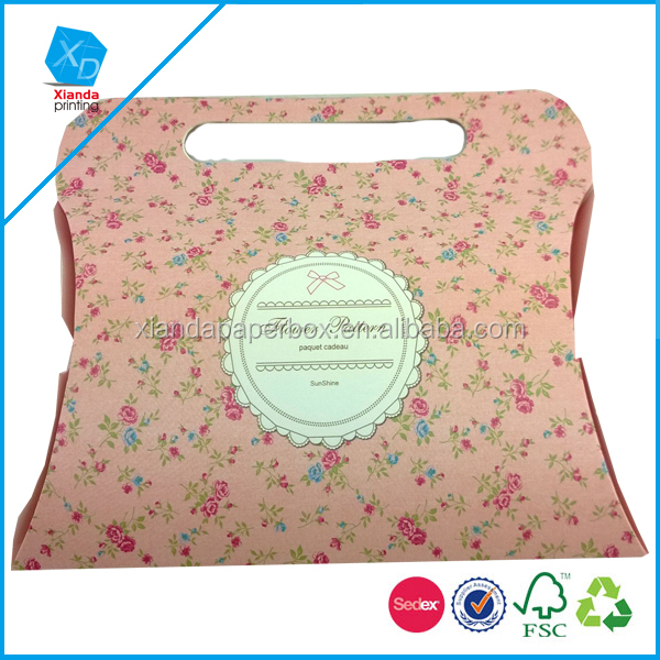 Like a bag OEM Pillow box with hanging tab & Gift packaging box