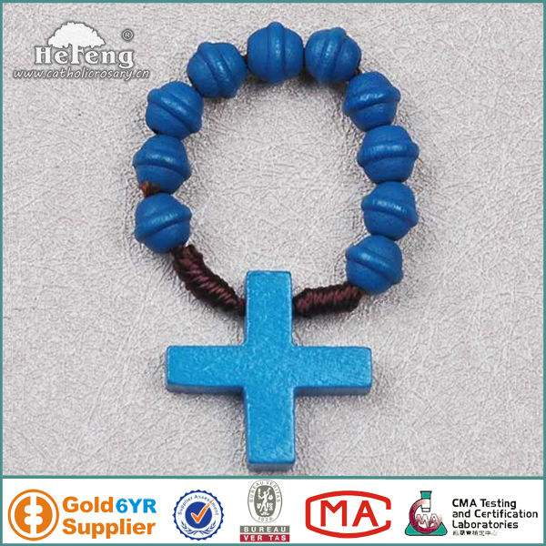 Catholic wooden cord finger rosary ring
