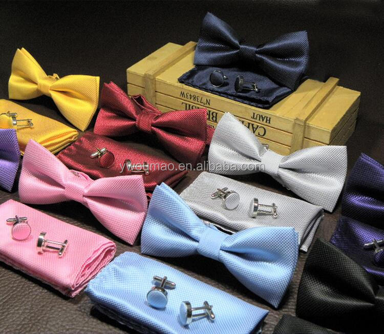 100% Hand Made Tuxedo Handkerchief Men'S Neck Ties Set Bow Tie + Cufflinks + Butterfly Pocket Square For Wedding Party