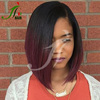 Ombre Two Tone Lace Front Wig 99J Virgin Peruvian Human Hair Silky Straight Short Bob Dark Red Human Hair Full Lace Wig
