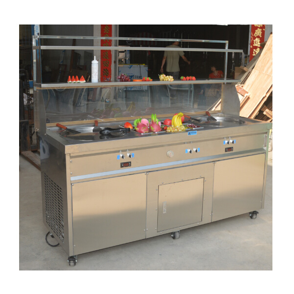 2 big flat pans handmade cold roll fried ice cream machine,double flat round pan fry ice cream roll machine