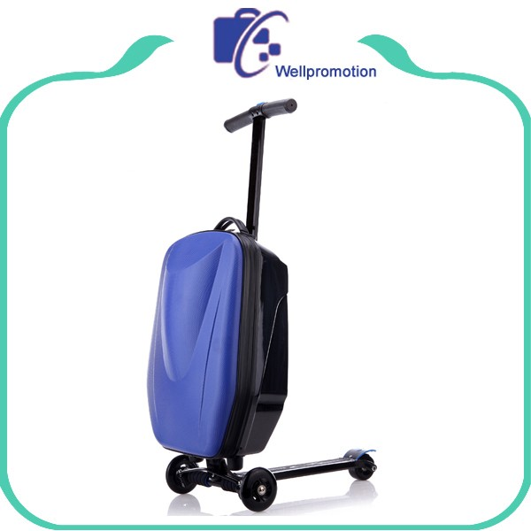 Bright color cheap hard trolley luggage travel suitcase luggage with scooter