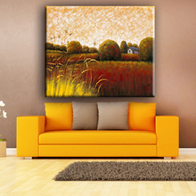 Wood frame high quality rural landscape reproduction oil painting