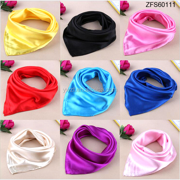 Fashion 90*90cm Plain color satin silk scarf