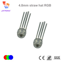 Ultra bright 4.8mm 5mm Straw hat LED diode DIP 4 pins RGB color