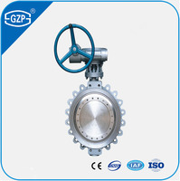 GZP Worm Gear Manual Handwheel Operated Metal Soft Sealing Flange Wafer Lug Type Cast Steel Iron Butterfly Valve