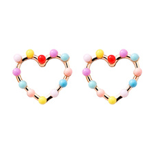 Fashion colorful beads gold heart stud <strong>earrings</strong> for girls cute 925 silver post crystal heart <strong>earring</strong>