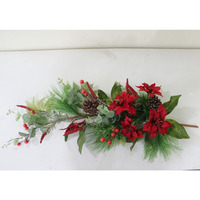 artificial christmas decorative Poinsettias and pine needle swag wholesale