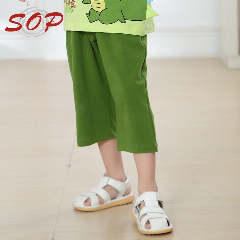 Wholesale three color kids cropped pants elastic waist children boys cotton pants