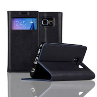 C&T Window With Invisible Magnet Closure Flip Leather Cover Folio Protective Case Stand Credit Card Slot for Samsung Galaxy S7