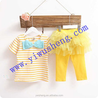 Cute white and yellow stripe baby girl clothing ,autumn children outfit with tutu skirt
